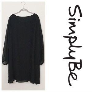 Simply Be Black Asymmetrical Ruffle Shift Dress